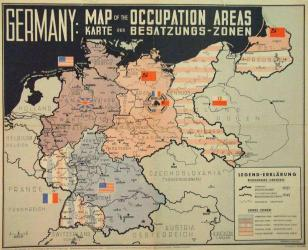 Alte Karte Besatzungs-Zonen